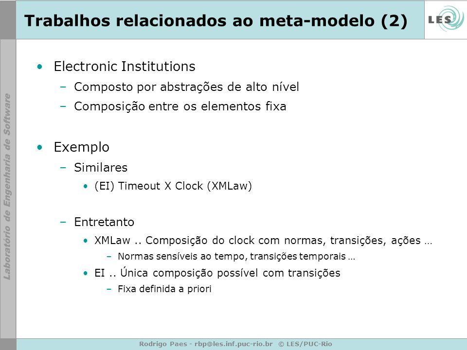 Rodrigo Paes - rbp@les.inf.puc-rio.br © LES/PUC-Rio Trabalhos relacionados ao meta-modelo (2) Electronic Institutions –Composto por abstrações de alto nível –Composição entre os elementos fixa Exemplo –Similares (EI) Timeout X Clock (XMLaw) –Entretanto XMLaw..