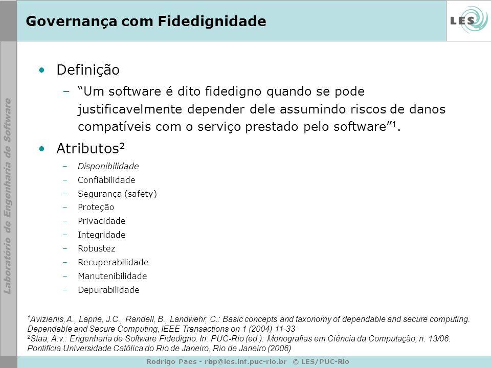 Rodrigo Paes - rbp@les.inf.puc-rio.br © LES/PUC-Rio Governança com Fidedignidade Definição –Um software é dito fidedigno quando se pode justificavelme