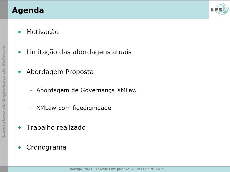 Rodrigo Paes - rbp@les.inf.puc-rio.br © LES/PUC-Rio Agenda Motivação Limitação das abordagens atuais Abordagem Proposta –Abordagem de Governança XMLaw