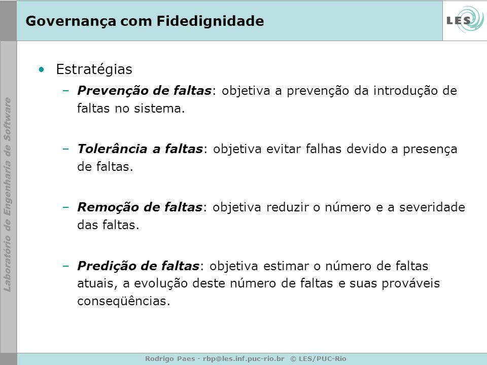 Rodrigo Paes - rbp@les.inf.puc-rio.br © LES/PUC-Rio Governança com Fidedignidade Estratégias –Prevenção de faltas: objetiva a prevenção da introdução de faltas no sistema.
