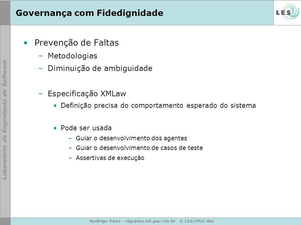 Rodrigo Paes - rbp@les.inf.puc-rio.br © LES/PUC-Rio Governança com Fidedignidade Prevenção de Faltas –Metodologias –Diminuição de ambiguidade –Especif
