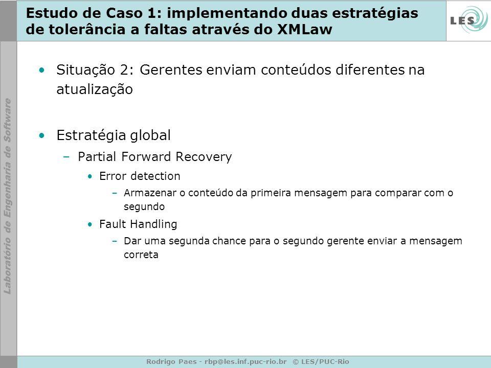 Rodrigo Paes - rbp@les.inf.puc-rio.br © LES/PUC-Rio Estudo de Caso 1: implementando duas estratégias de tolerância a faltas através do XMLaw Situação