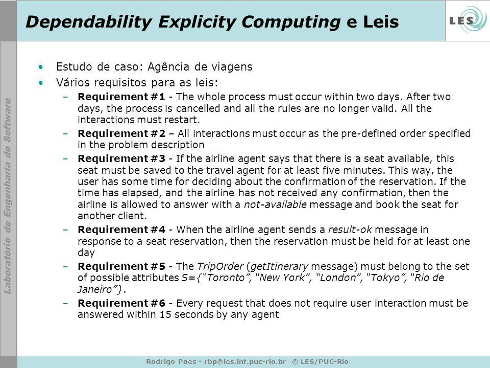 Rodrigo Paes - rbp@les.inf.puc-rio.br © LES/PUC-Rio Dependability Explicity Computing e Leis Estudo de caso: Agência de viagens Vários requisitos para