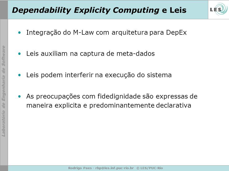Rodrigo Paes - rbp@les.inf.puc-rio.br © LES/PUC-Rio Dependability Explicity Computing e Leis Integração do M-Law com arquitetura para DepEx Leis auxil