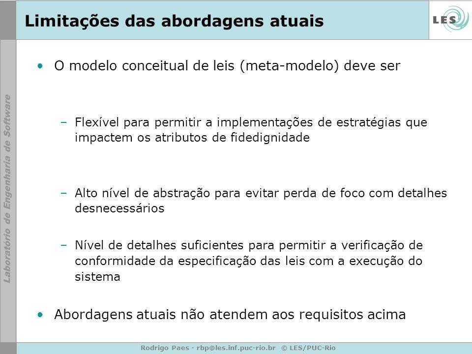 Rodrigo Paes - rbp@les.inf.puc-rio.br © LES/PUC-Rio Limitações das abordagens atuais O modelo conceitual de leis (meta-modelo) deve ser –Flexível para