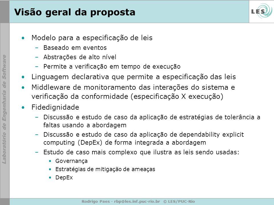 Rodrigo Paes - rbp@les.inf.puc-rio.br © LES/PUC-Rio Visão geral da proposta Modelo para a especificação de leis –Baseado em eventos –Abstrações de alt