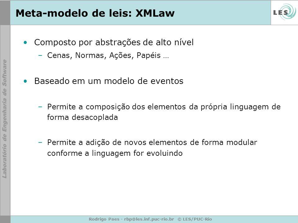 Rodrigo Paes - rbp@les.inf.puc-rio.br © LES/PUC-Rio Meta-modelo de leis: XMLaw Composto por abstrações de alto nível –Cenas, Normas, Ações, Papéis … B