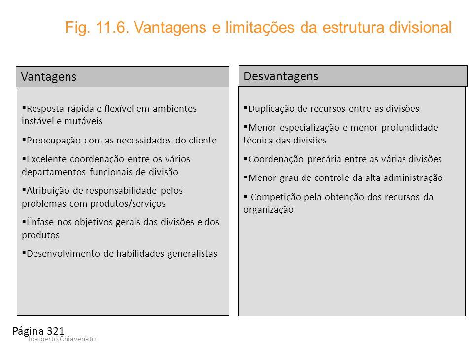 Idalberto Chiavenato Duplicação de recursos entre as divisões Menor especialização e menor profundidade técnica das divisões Coordenação precária entr