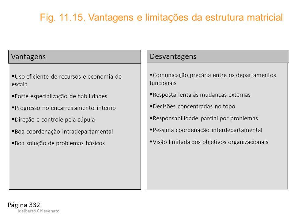Idalberto Chiavenato Comunicação precária entre os departamentos funcionais Resposta lenta às mudanças externas Decisões concentradas no topo Responsa