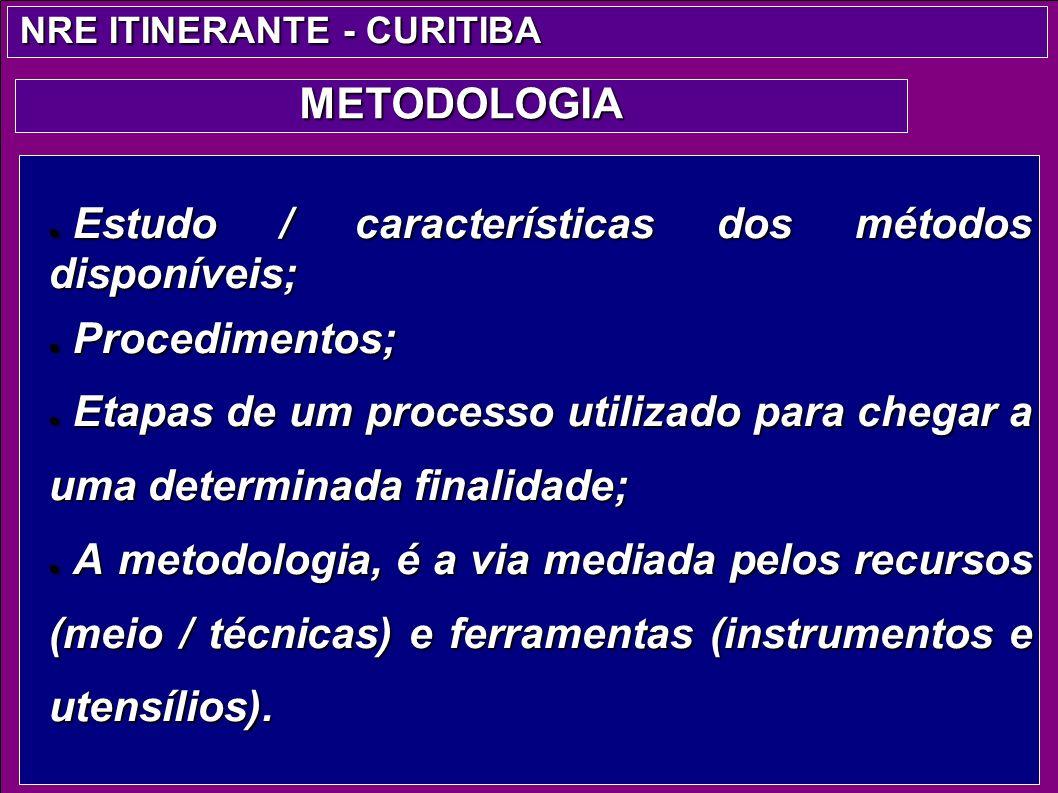 Estudo / características dos métodos disponíveis; Estudo / características dos métodos disponíveis; Procedimentos; Procedimentos; Etapas de um process