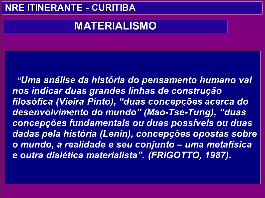 Uma análise da história do pensamento humano vai nos indicar duas grandes linhas de construção filosófica (Vieira Pinto), duas concepções acerca do de