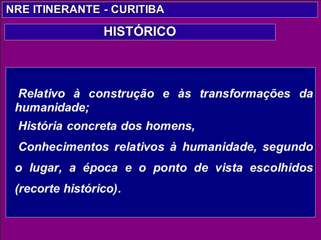 Relativo à construção e às transformações da humanidade; História concreta dos homens, Conhecimentos relativos à humanidade, segundo o lugar, a época