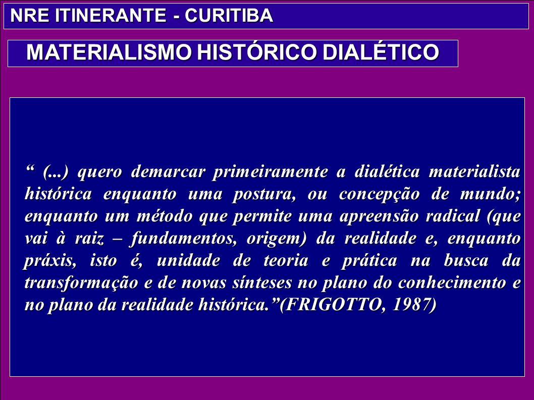 (...) quero demarcar primeiramente a dialética materialista histórica enquanto uma postura, ou concepção de mundo; enquanto um método que permite uma