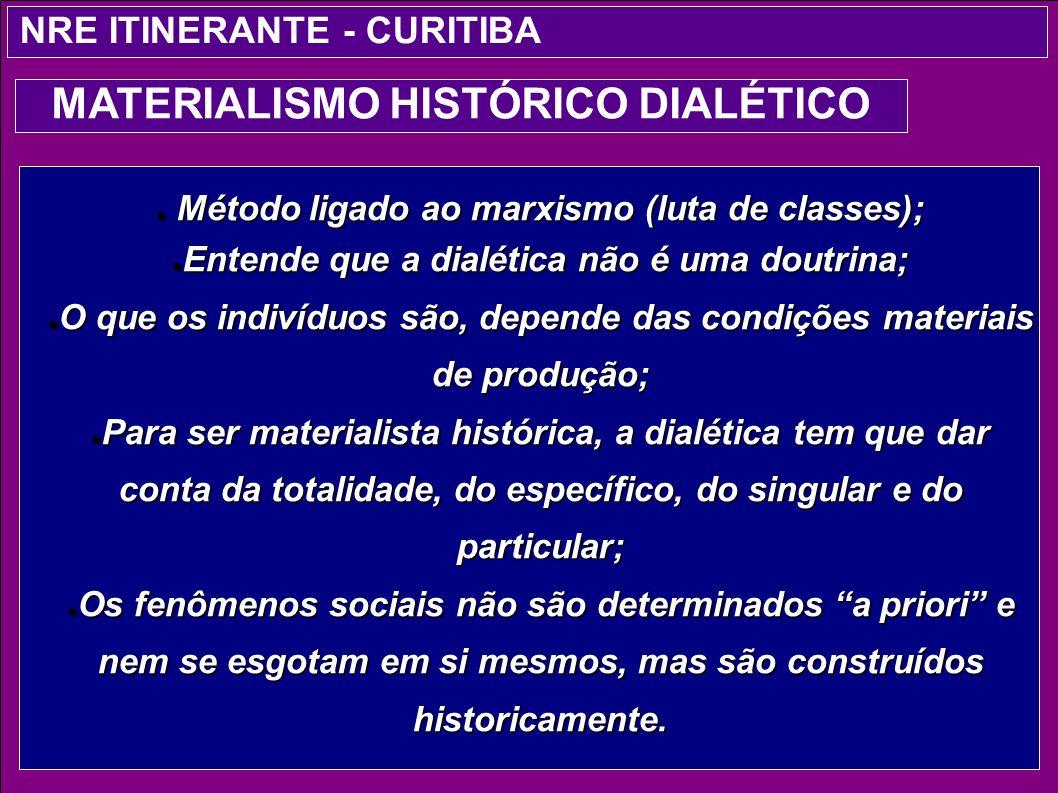 Método ligado ao marxismo (luta de classes); Método ligado ao marxismo (luta de classes); Entende que a dialética não é uma doutrina; Entende que a di
