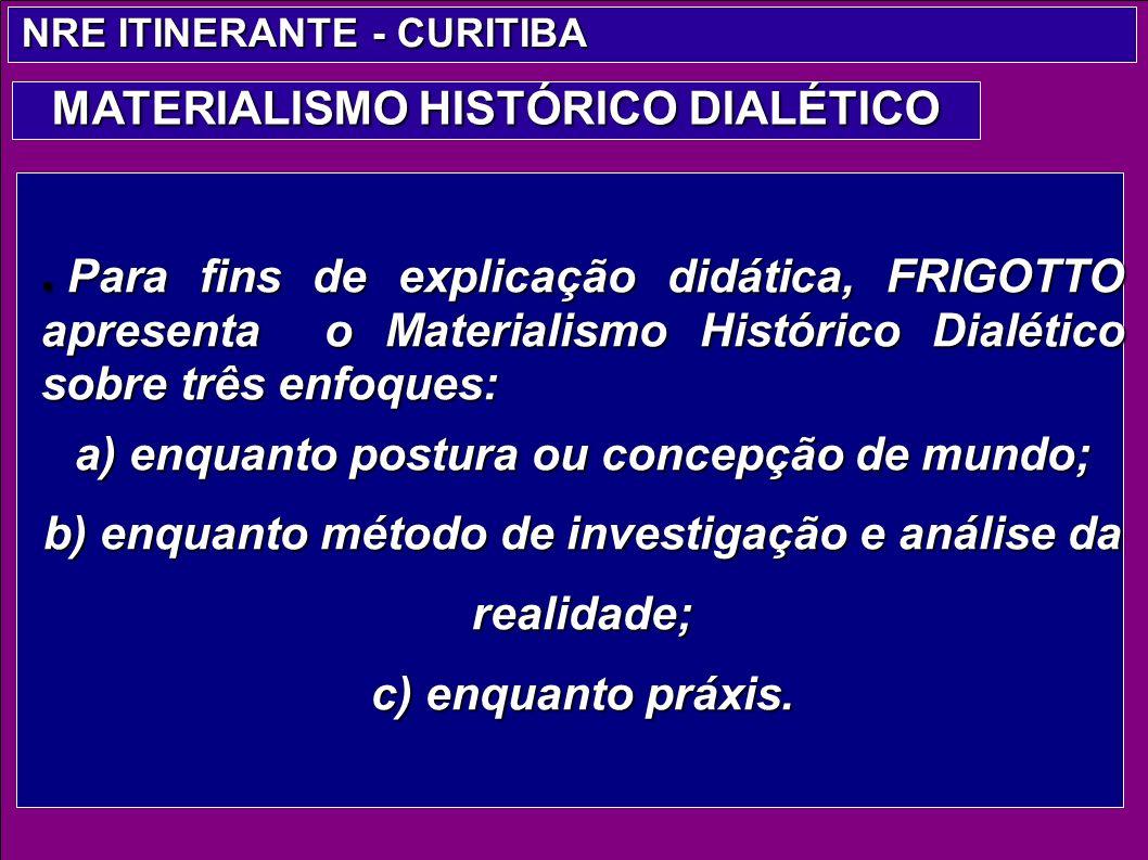 Para fins de explicação didática, FRIGOTTO apresenta o Materialismo Histórico Dialético sobre três enfoques: Para fins de explicação didática, FRIGOTT