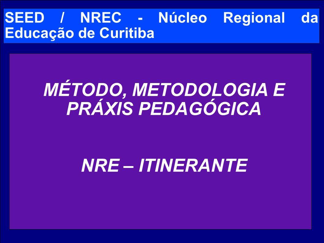 SEED / NREC - Núcleo Regional da Educação de Curitiba MÉTODO, METODOLOGIA E PRÁXIS PEDAGÓGICA NRE – ITINERANTE