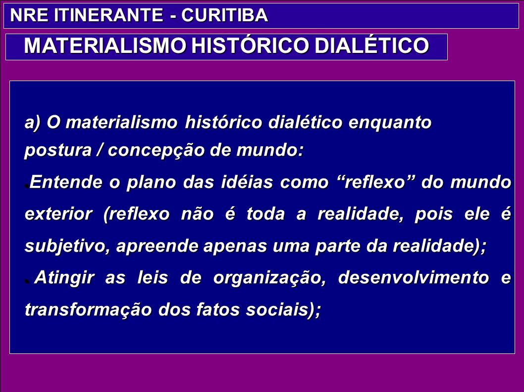 a) O materialismo histórico dialético enquanto postura / concepção de mundo: Entende o plano das idéias como reflexo do mundo exterior (reflexo não é