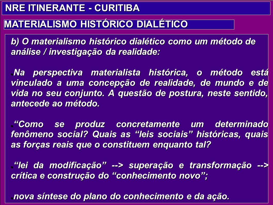 b) O materialismo histórico dialético como um método de análise / investigação da realidade: Na perspectiva materialista histórica, o método está vinc