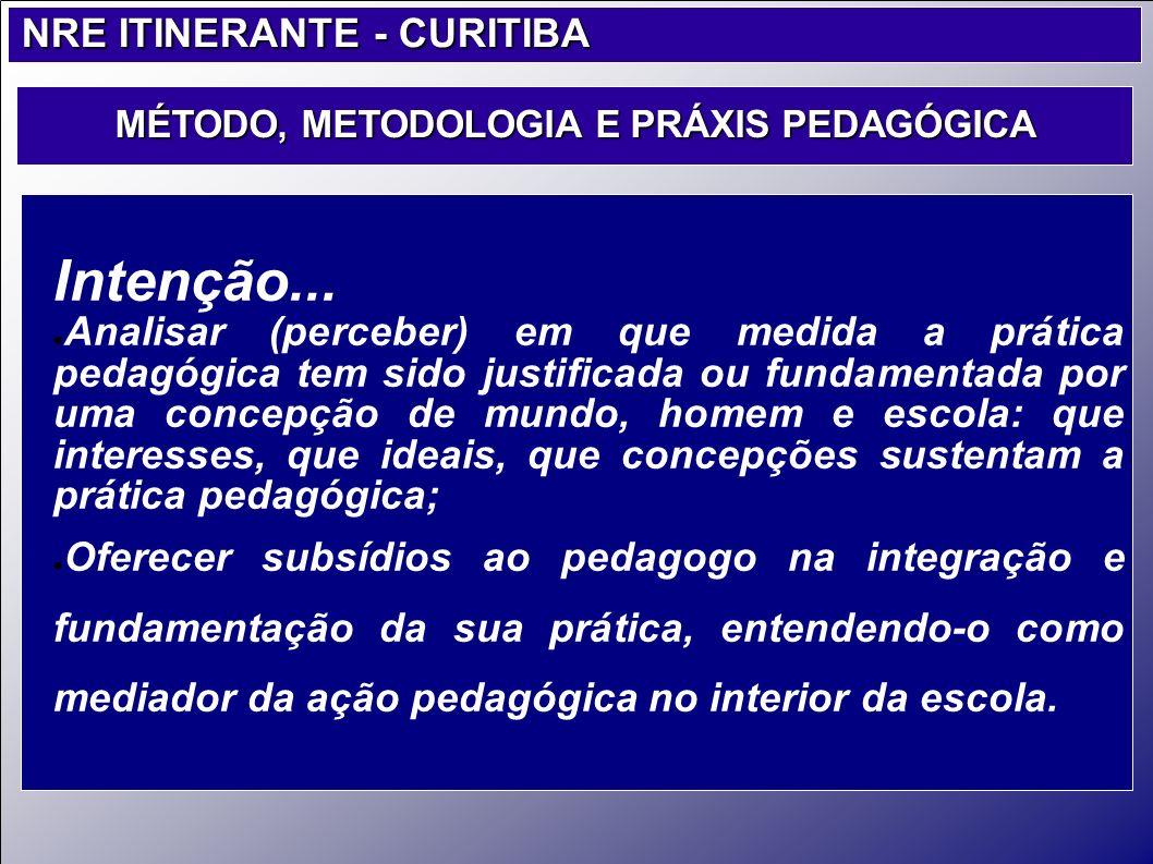 Intenção... Analisar (perceber) em que medida a prática pedagógica tem sido justificada ou fundamentada por uma concepção de mundo, homem e escola: qu