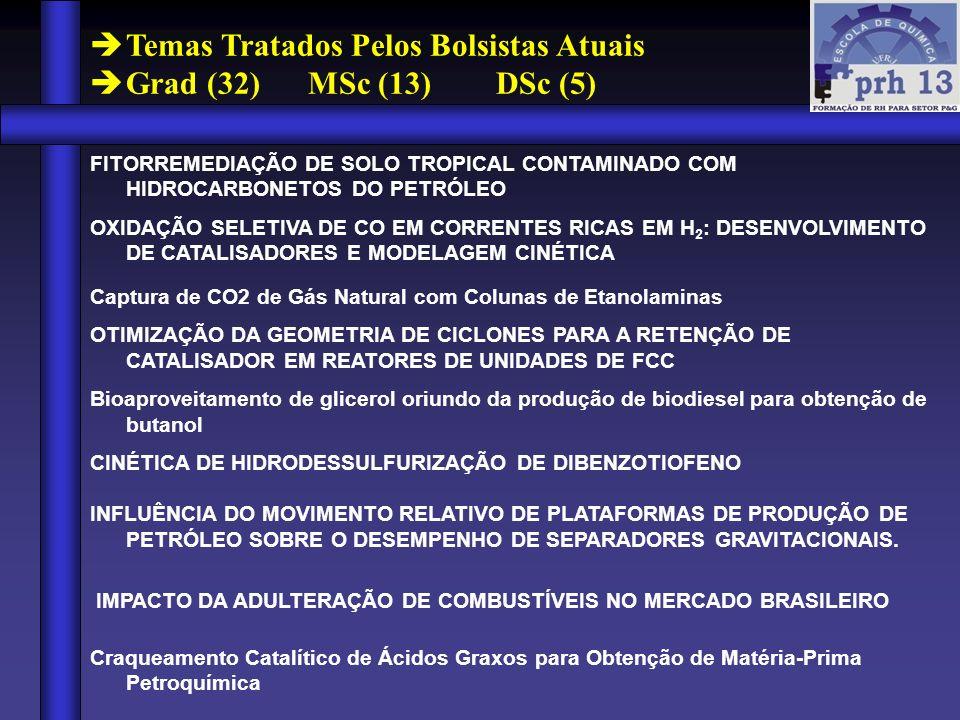Temas Tratados Pelos Bolsistas Atuais Grad (32) MSc (13) DSc (5) FITORREMEDIAÇÃO DE SOLO TROPICAL CONTAMINADO COM HIDROCARBONETOS DO PETRÓLEO OXIDAÇÃO