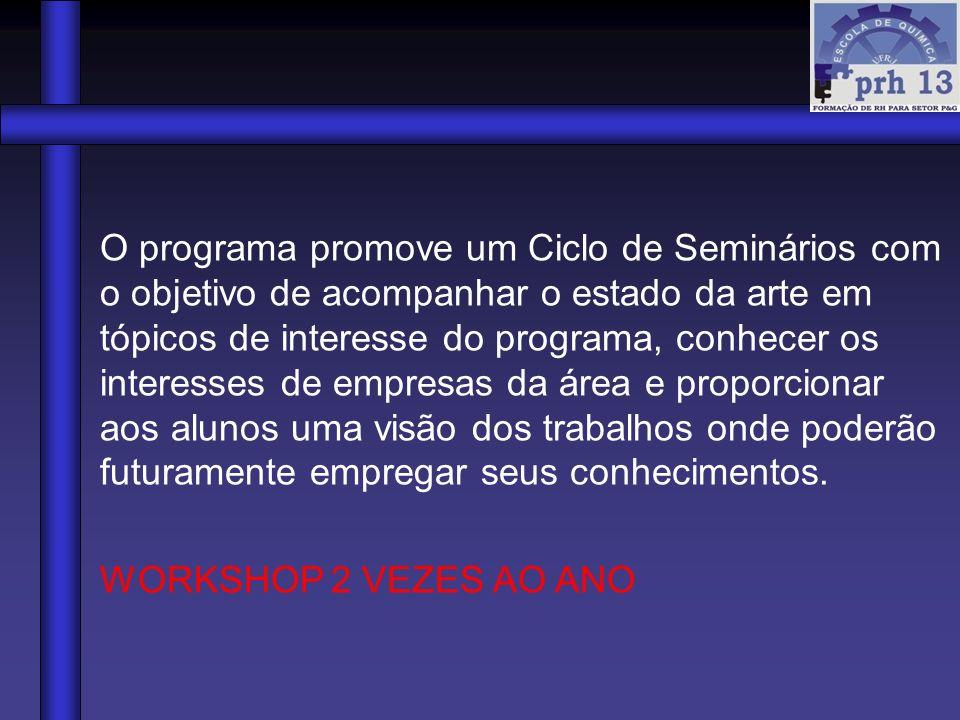 O programa promove um Ciclo de Seminários com o objetivo de acompanhar o estado da arte em tópicos de interesse do programa, conhecer os interesses de