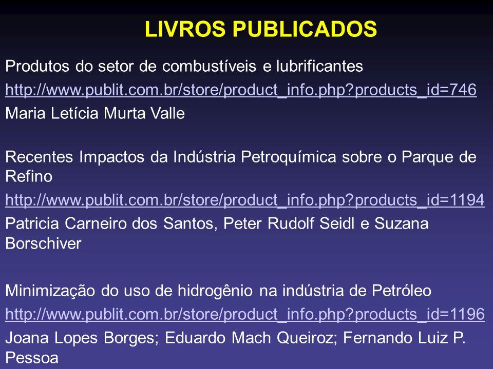 LIVROS PUBLICADOS Produtos do setor de combustíveis e lubrificantes http://www.publit.com.br/store/product_info.php?products_id=746 Maria Letícia Murt