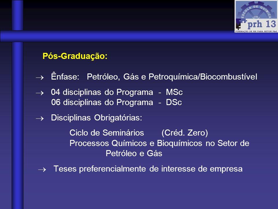 Pós-Graduação: Ênfase: Petróleo, Gás e Petroquímica/Biocombustível 04 disciplinas do Programa - MSc 06 disciplinas do Programa - DSc Disciplinas Obrig