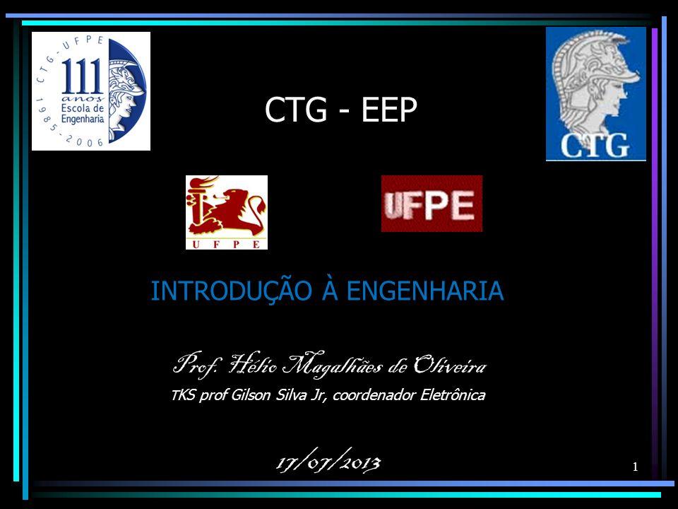 CTG - EEP INTRODUÇÃO À ENGENHARIA Prof. Hélio Magalhães de Oliveira T KS prof Gilson Silva Jr, coordenador Eletrônica 17/07/2013 1