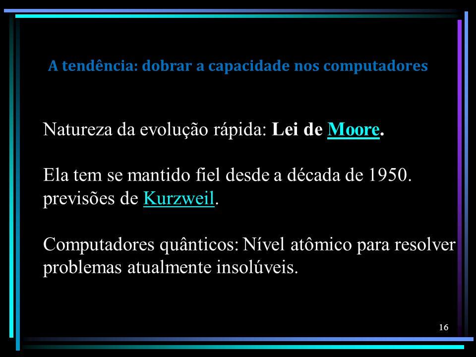 A tendência: dobrar a capacidade nos computadores Natureza da evolução rápida: Lei de Moore.Moore Ela tem se mantido fiel desde a década de 1950. prev