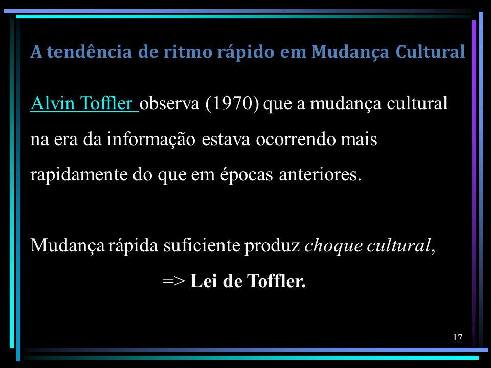 A tendência de ritmo rápido em Mudança Cultural Alvin Toffler Alvin Toffler observa (1970) que a mudança cultural na era da informação estava ocorrend