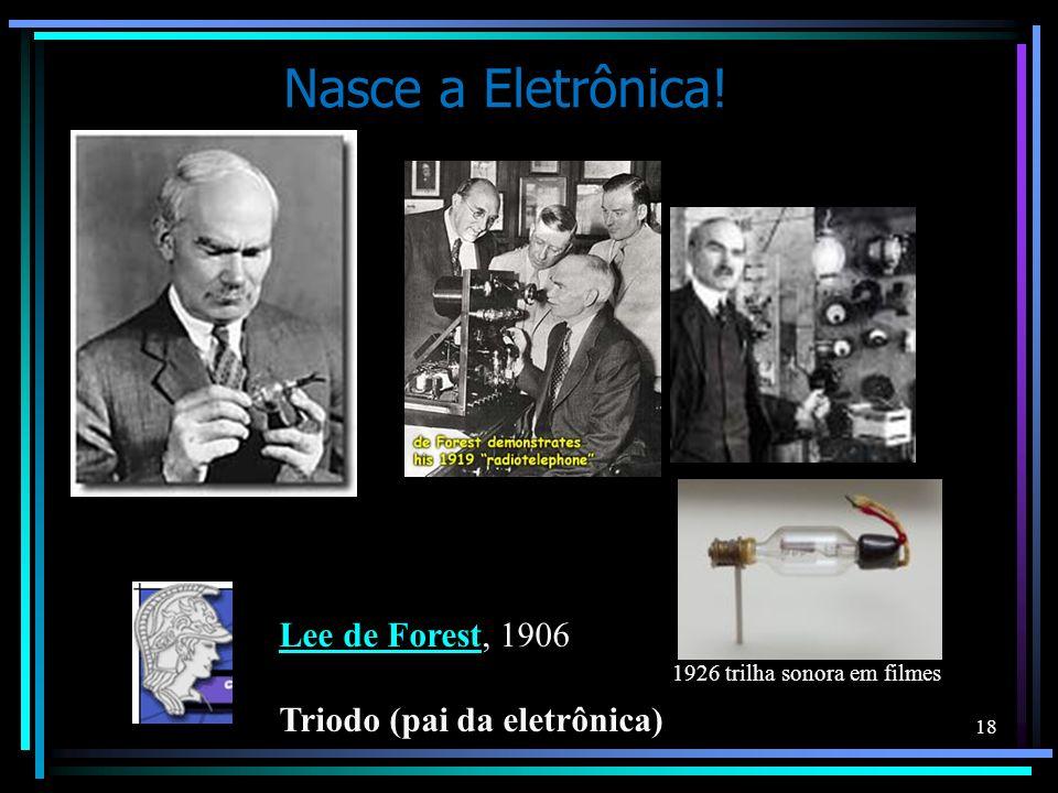 Lee de ForestLee de Forest, 1906 Triodo (pai da eletrônica) 1926 trilha sonora em filmes Nasce a Eletrônica! 18