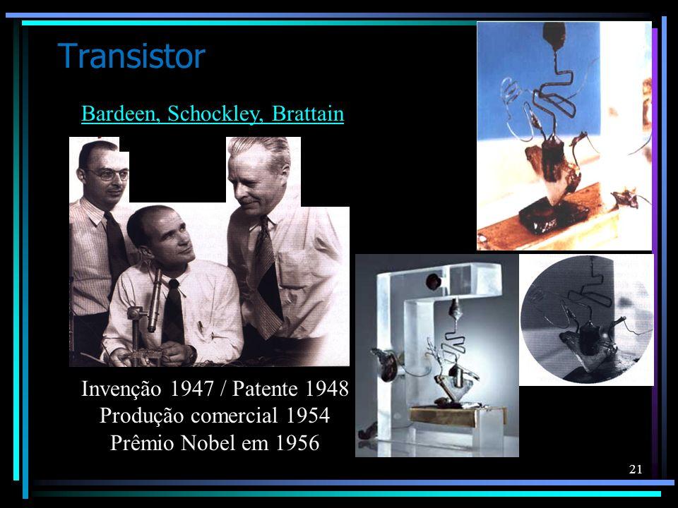 21 Transistor Invenção 1947 / Patente 1948 Produção comercial 1954 Prêmio Nobel em 1956 Bardeen, Schockley, Brattain