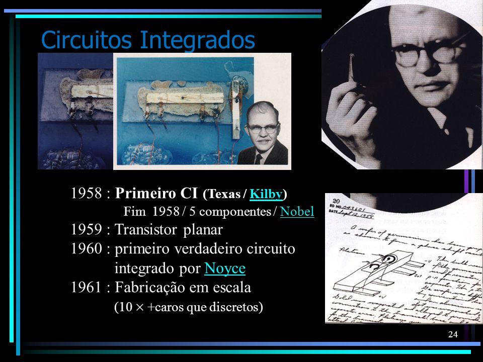 24 Circuitos Integrados 1958 : Primeiro CI (Texas / Kilby) Fim 1958 / 5 componentes / NobelKilbyNobel 1959 : Transistor planar 1960 : primeiro verdade