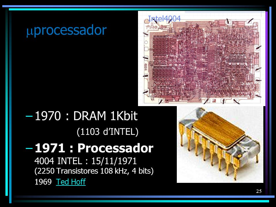 25 processador –1970 : DRAM 1Kbit (1103 dINTEL) –1971 : Processador 4004 INTEL : 15/11/1971 (2250 Transistores 108 kHz, 4 bits) 1969 Ted HoffTed Hoff