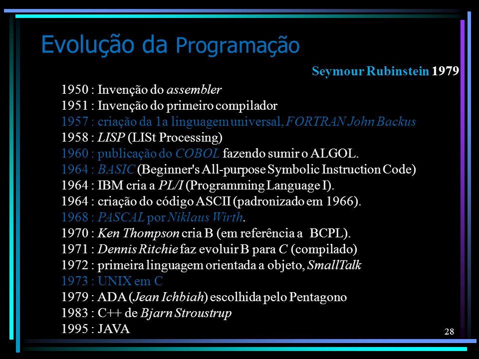 28 Evolução da Programação 1950 : Invenção do assembler 1951 : Invenção do primeiro compilador 1957 : criação da 1a linguagem universal, FORTRAN John