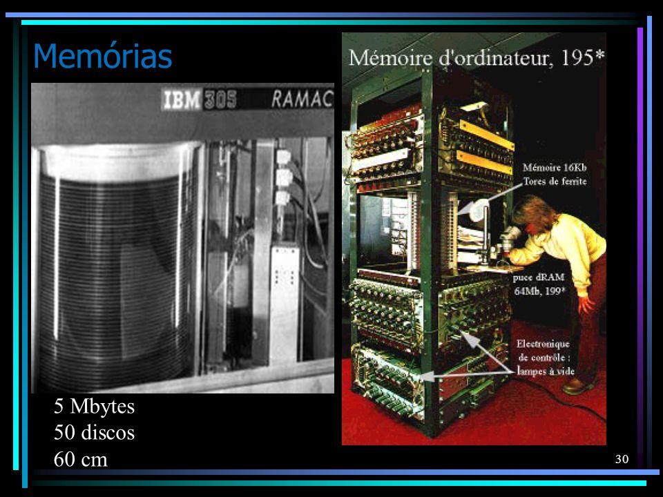 Memórias 30 5 Mbytes 50 discos 60 cm