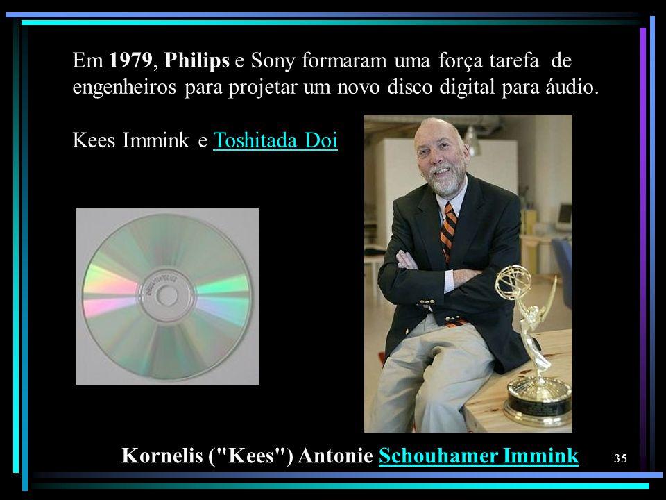Em 1979, Philips e Sony formaram uma força tarefa de engenheiros para projetar um novo disco digital para áudio. Kees Immink e Toshitada DoiToshitada