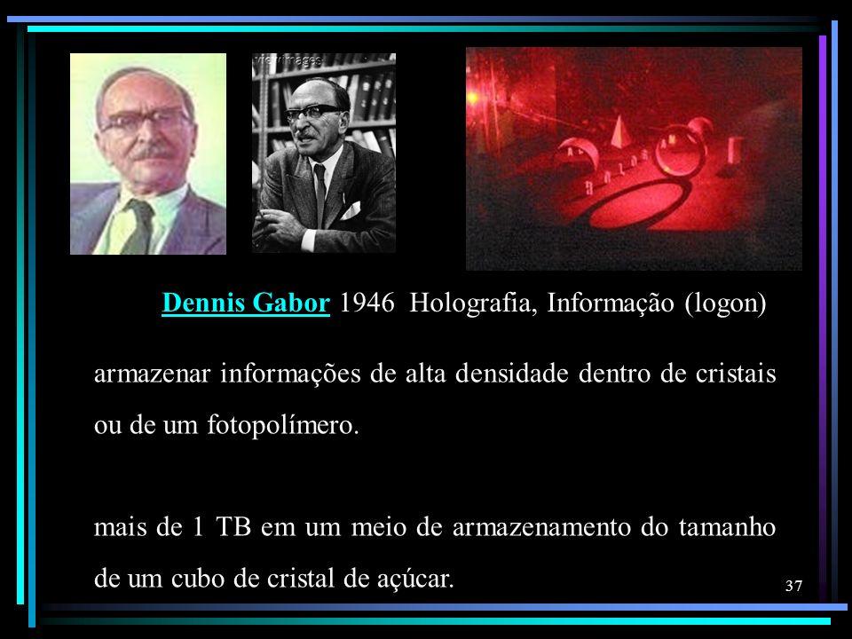 Dennis GaborDennis Gabor 1946 Holografia, Informação (logon) armazenar informações de alta densidade dentro de cristais ou de um fotopolímero. mais de