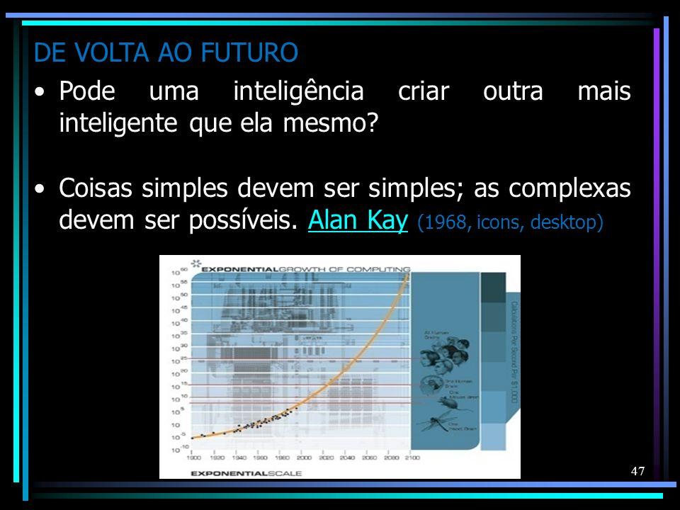 47 DE VOLTA AO FUTURO Pode uma inteligência criar outra mais inteligente que ela mesmo? Coisas simples devem ser simples; as complexas devem ser possí