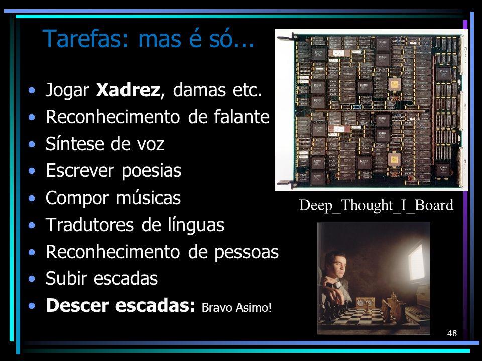 Tarefas: mas é só... Jogar Xadrez, damas etc. Reconhecimento de falante Síntese de voz Escrever poesias Compor músicas Tradutores de línguas Reconheci