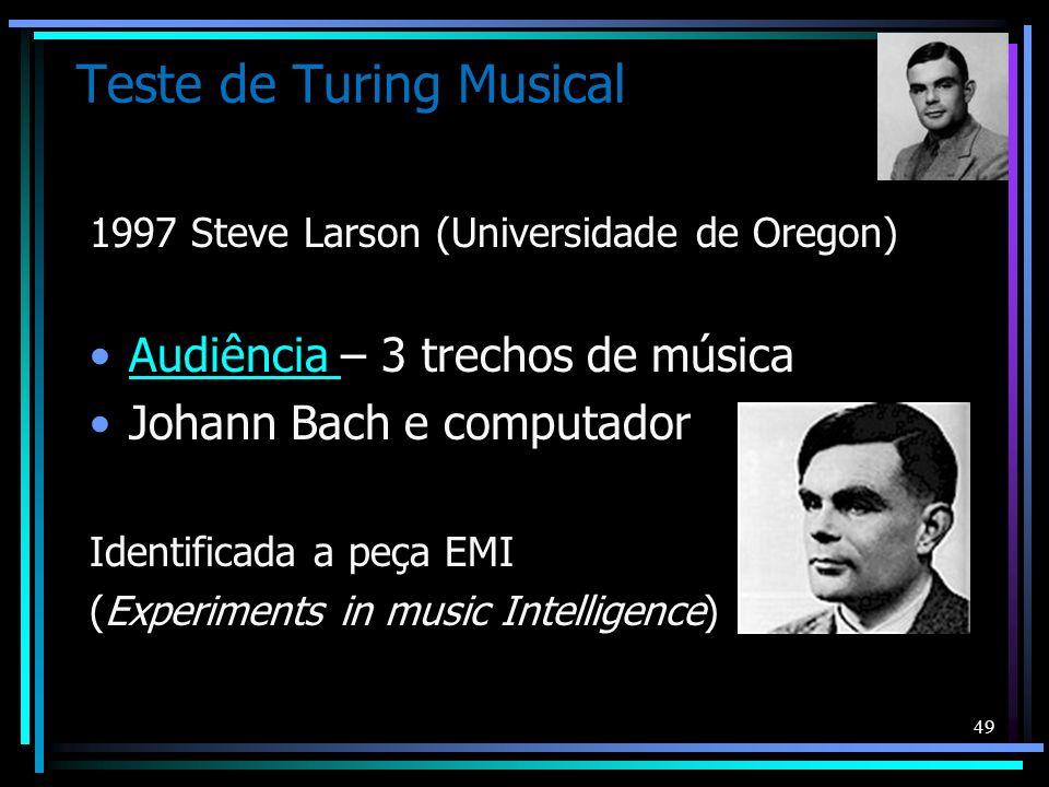 Teste de Turing Musical 1997 Steve Larson (Universidade de Oregon) Audiência – 3 trechos de músicaAudiência Johann Bach e computador Identificada a pe