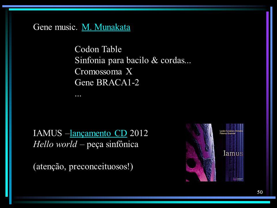 50 Gene music. M. MunakataM. Munakata Codon Table Sinfonia para bacilo & cordas... Cromossoma X Gene BRACA1-2... IAMUS –lançamento CD 2012lançamento C