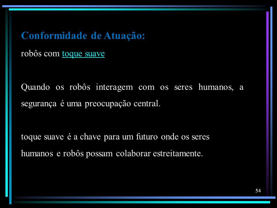 Conformidade de Atuação: robôs com toque suavetoque suave Quando os robôs interagem com os seres humanos, a segurança é uma preocupação central. toque