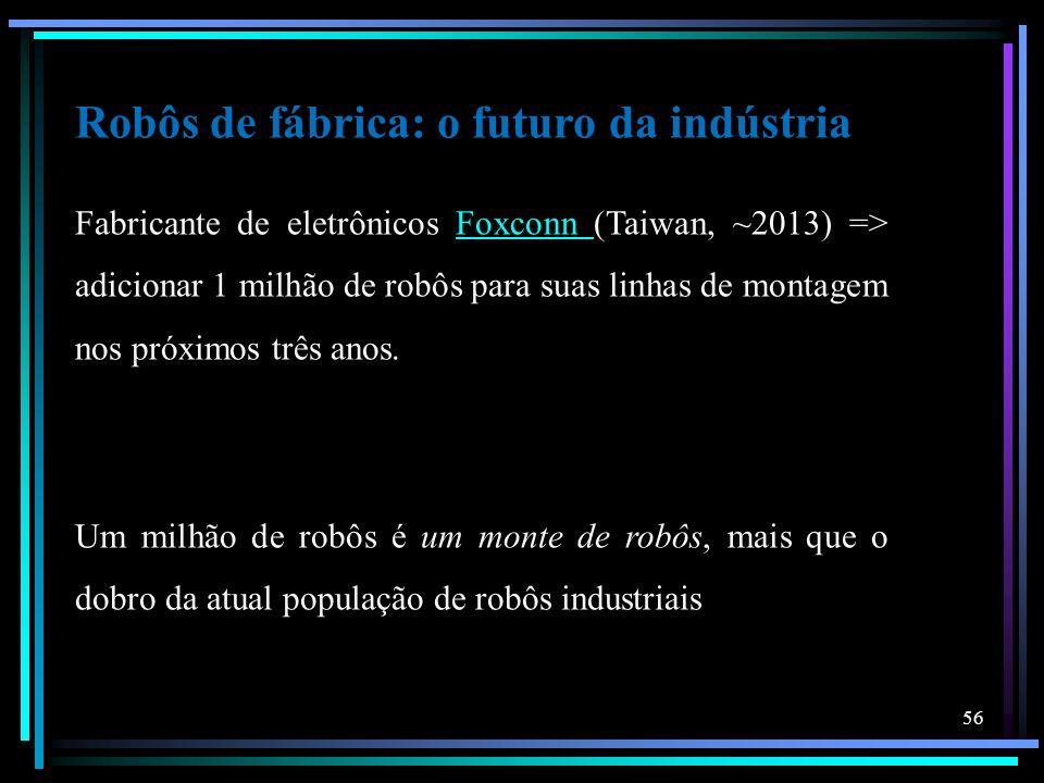 Robôs de fábrica: o futuro da indústria Fabricante de eletrônicos Foxconn (Taiwan, ~2013) => adicionar 1 milhão de robôs para suas linhas de montagem