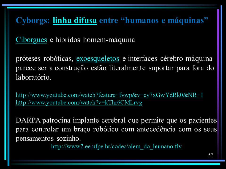 Cyborgs: linha difusa entre humanos e máquinas Ciborgues e híbridos homem-máquinalinha difusa Ciborgues próteses robóticas, exoesqueletos e interfaces
