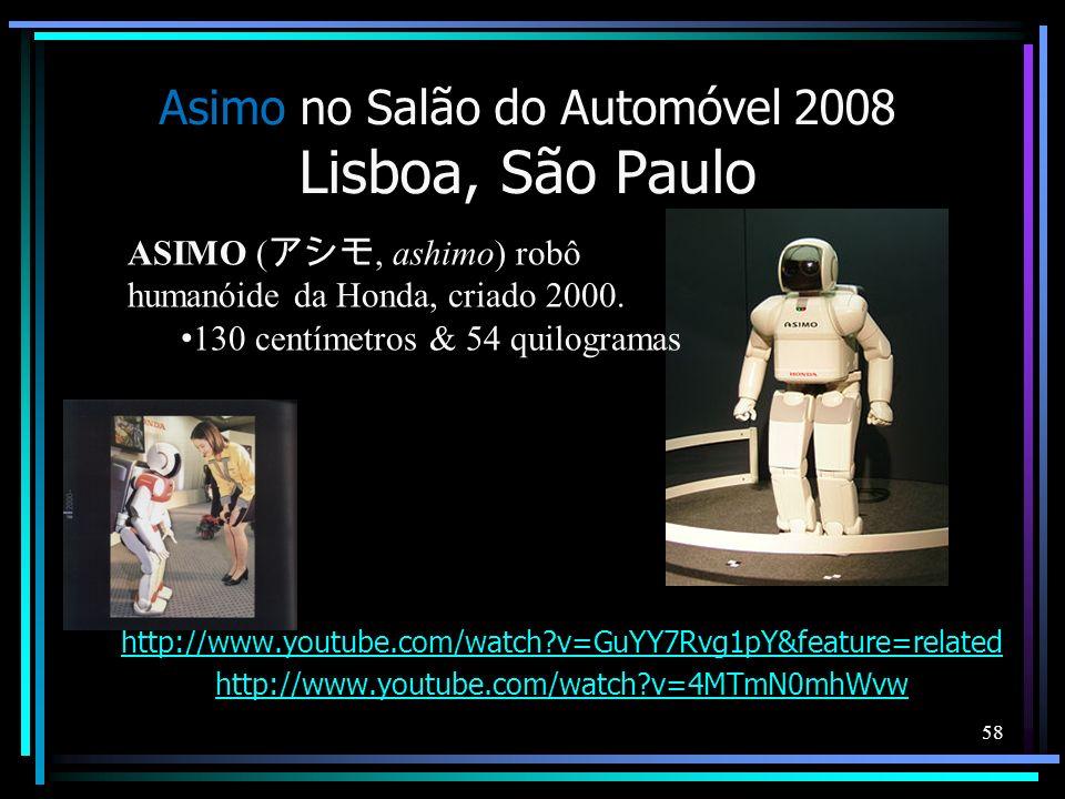 Asimo no Salão do Automóvel 2008 Lisboa, São Paulo http://www.youtube.com/watch?v=GuYY7Rvg1pY&feature=related http://www.youtube.com/watch?v=4MTmN0mhW