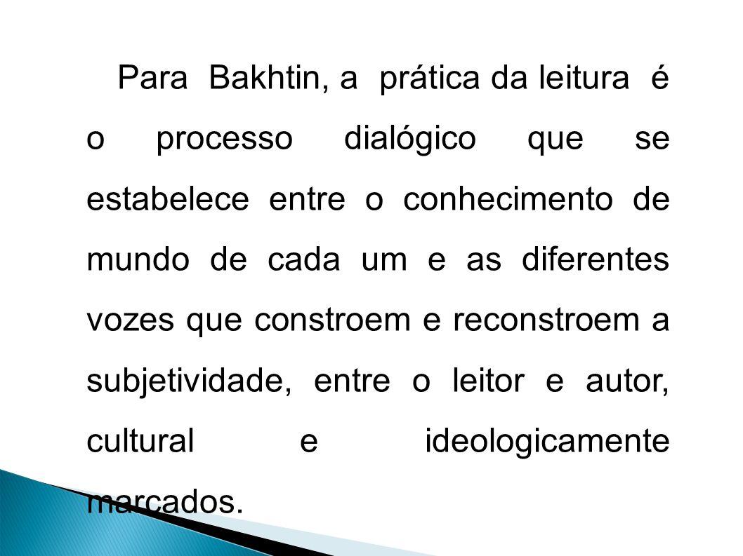 Para Bakhtin, a prática da leitura é o processo dialógico que se estabelece entre o conhecimento de mundo de cada um e as diferentes vozes que constroem e reconstroem a subjetividade, entre o leitor e autor, cultural e ideologicamente marcados.