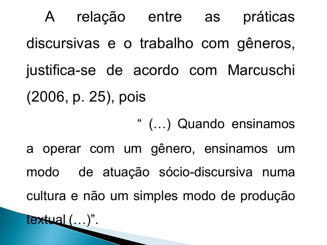 A relação entre as práticas discursivas e o trabalho com gêneros, justifica-se de acordo com Marcuschi (2006, p.
