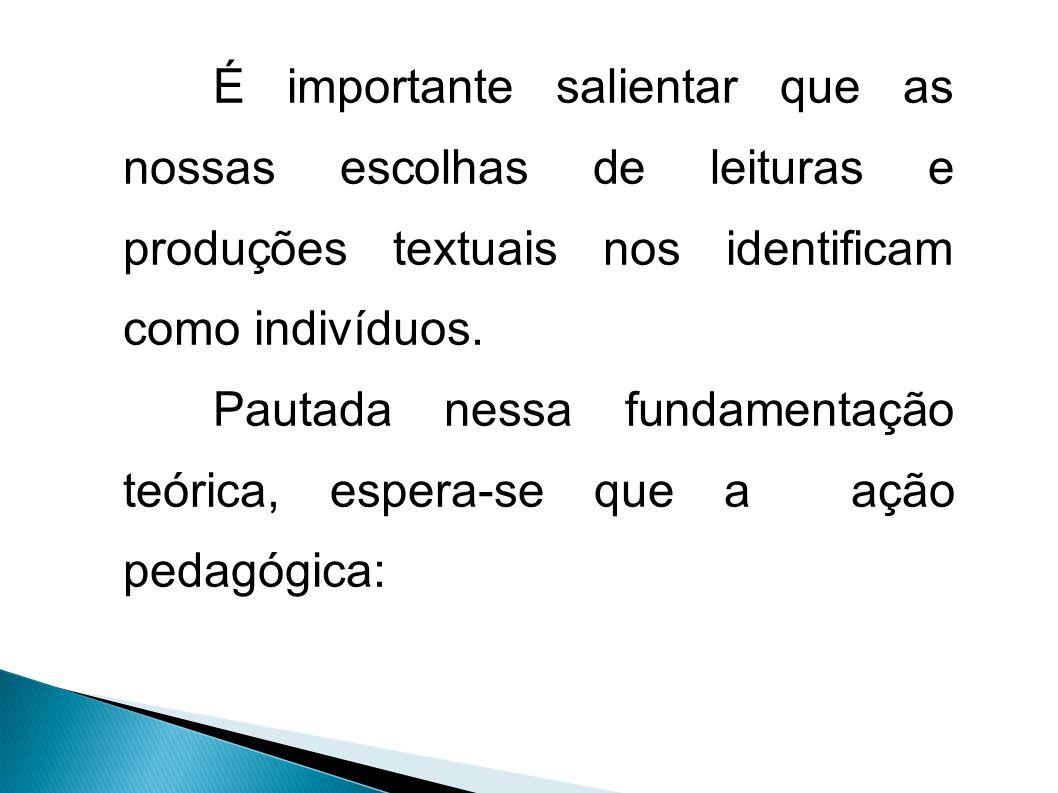 É importante salientar que as nossas escolhas de leituras e produções textuais nos identificam como indivíduos.