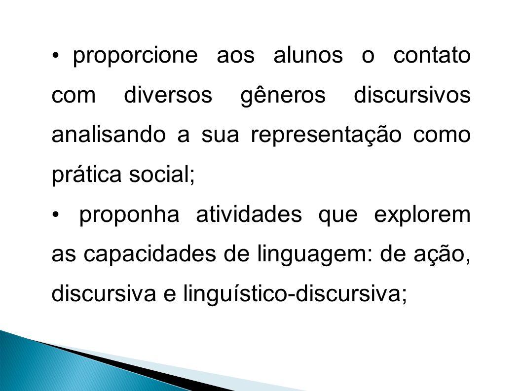 proporcione aos alunos o contato com diversos gêneros discursivos analisando a sua representação como prática social; proponha atividades que explorem as capacidades de linguagem: de ação, discursiva e linguístico-discursiva;